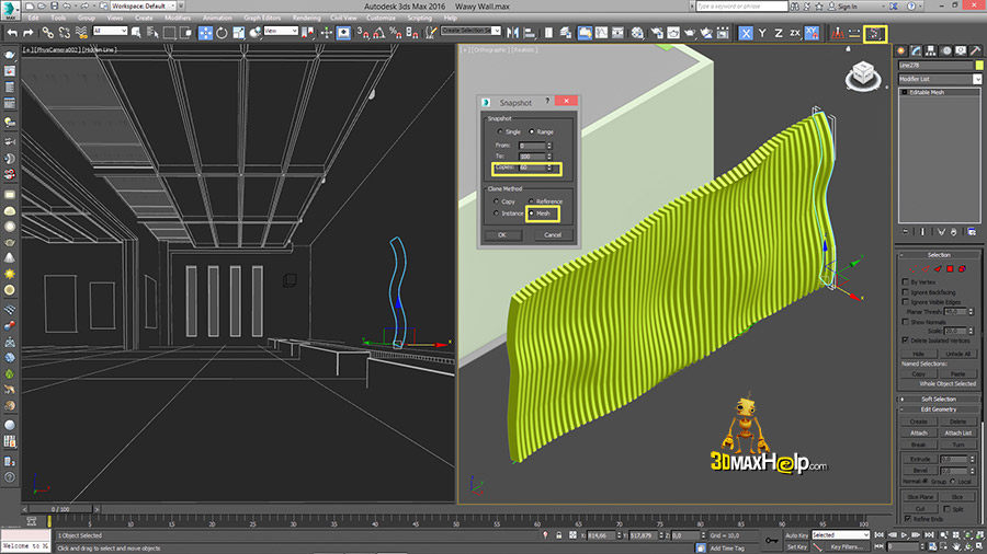 3dmaxhelp How to create a wavy wall 8